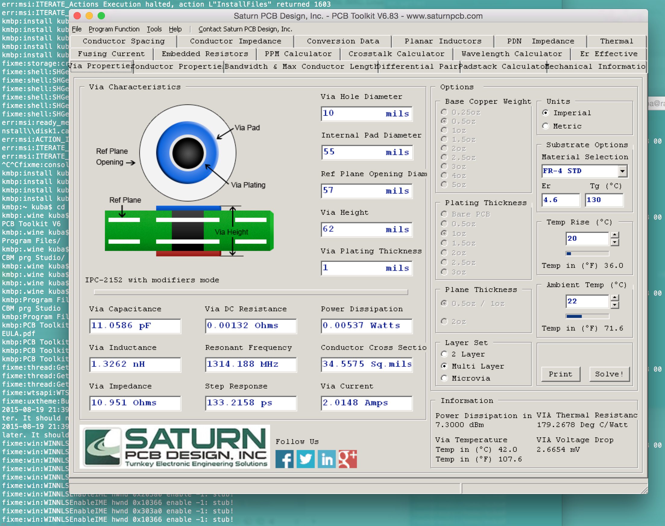 Saturn PCB Toolkit under WINE (MAC, Linux) | KUBA